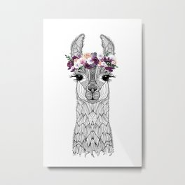 FLOWER GIRL ALPACA Metal Print