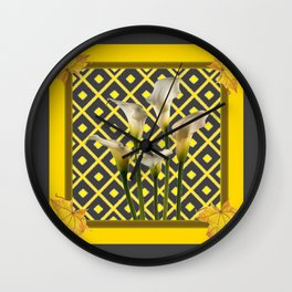 Charcoal Grey-Gold White Calla Lilies Wall Clock