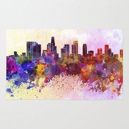Los Angeles skyline in watercolor background Rug