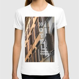 Hotel California // A Modern Artsy Style Graphic Photography of Neon Sign in Europe on Buildings T-shirt