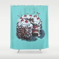 dessert Shower Curtains featuring Dessert : Black Forest Cake by Jody Edwards Art