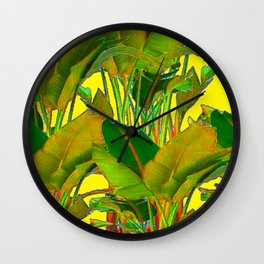 GOLDEN TROPICAL FOLIAGE GREEN & GOLD LEAVES AR Wall Clock