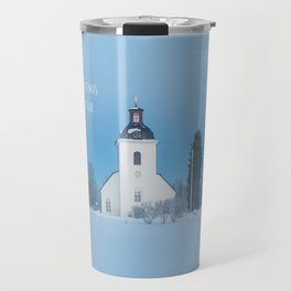 Christmas Card with white Church in Swedish Winter Landscape Travel Mug