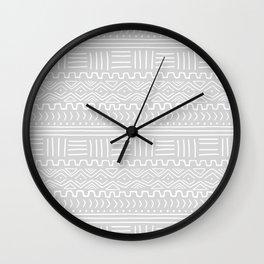 Mud Cloth on Light Gray Wall Clock