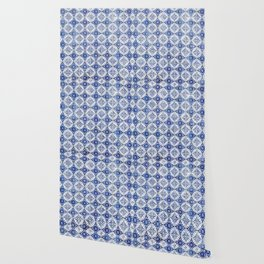 Weathered Traditional Blue Tiles Wallpaper