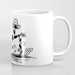 B&W floral Coffee Mug