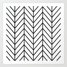 Herringbone White Art Print