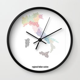 Regional italian cuisine map - Italy food / white version Wall Clock