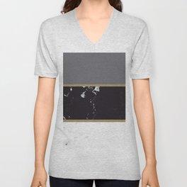 Marble Mix Stripes #1 #black #white #gray #gold #decor #art #society6 Unisex V-Neck