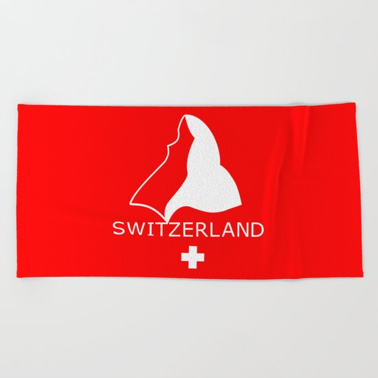 Switzerland and Matterhorn Beach Towel