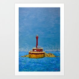 Lighthouse on Boston Harbor Art Print