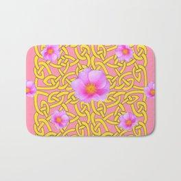 Decorative Yellow Celtic Pattern Pink-Coral  Rose Art Bath Mat