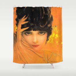 Vintage Glamour Girl Flapper Shower Curtain