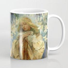"Alphonse Mucha ""Madonna of the liles"" Coffee Mug"