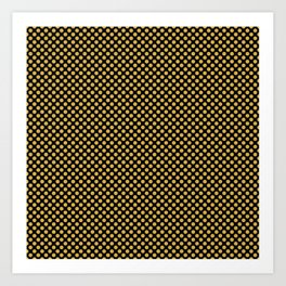 Black and Spicy Mustard Polka Dots Art Print