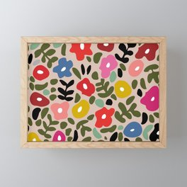 Flower meadow in muted colours Framed Mini Art Print