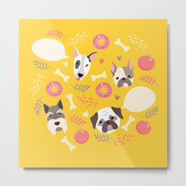 Cute dog illustration color card with cloud place for your text Metal Print
