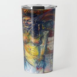 """Phases of Her Mind"" - the flagship painting in the series ""Women and the Golden Rectangle."" Travel Mug"