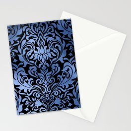 Classic Blue Swirls Damask 11 Stationery Cards