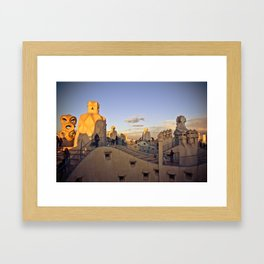 Barcelona from Casa Milá Framed Art Print