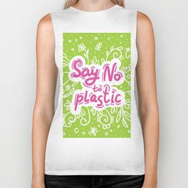 Say no to plastic.  Pollution problem, ecology banner poster. Biker Tank