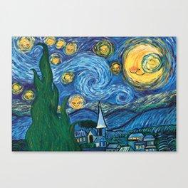 Star Sky - Reinterpretation of The Starry Night by Vincent Van Gogh - Kids art, Prints, painting Canvas Print