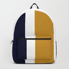 Quatro Stripe Minimalist Broad Stripe Color Block Pattern in Mustard Yellow, Navy Blue, Gray, White Backpack