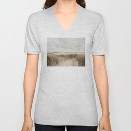 Dunes Of The Netherlands Photo | Dutch Landscape Photography | Dutch Dunes Unisex V-Neck
