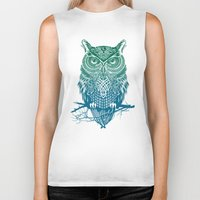 pink Biker Tanks featuring Warrior Owl by Rachel Caldwell