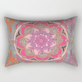 Hot Pink, Magenta and Orange Super Boho Medallions Rectangular Pillow