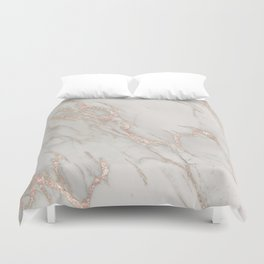Marble Rose Gold Blush Pink Metallic by Nature Magick Duvet Cover