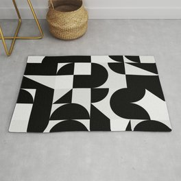 Modern Geometry / Minimal, Black, White, Grey Rug