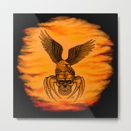 Spider Skull and Eagle in Tattoo Style , Black Red Yellow design Metal Print
