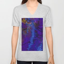 Purple Blue abstract marble Unisex V-Neck