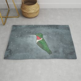 Ruby-Throated Hummingbird - Heart Chakra - Watercolor Painting Rug