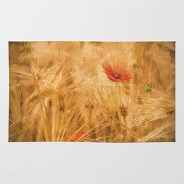 Fiery poppy in a golden cornfield- Poppies Flower Flowers #Society6 Rug