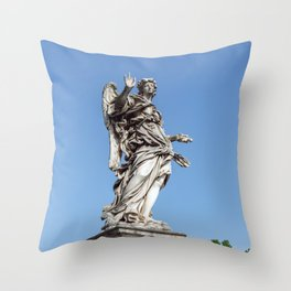 Angel with the Nails at the Sant'Angelo bridge - Rome, Italy Throw Pillow