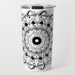 Delicate black mandala on white Travel Mug