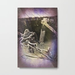 Old wharf and ropes on a river. Metal Print