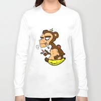 monkey island Long Sleeve T-shirts featuring Groovy Monkey by Groovy Gangster