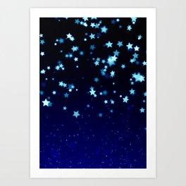 Twinkle Blue Stars1 Art Print