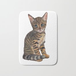 Bengal Kitten, Blue-eyed Kitten, Cute Cat Bath Mat