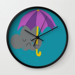 Sad rain cloud Wall Clock