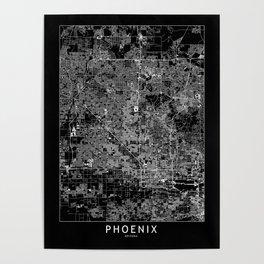 Phoenix Black Map Poster