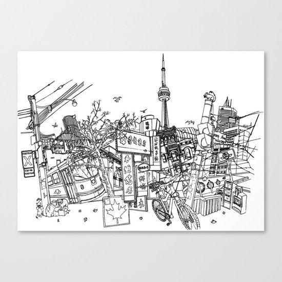 Toronto! (Dark T-shirt Version) Canvas Print