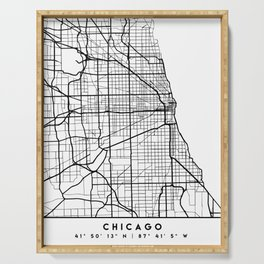 CHICAGO ILLINOIS BLACK CITY STREET MAP ART Serving Tray