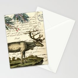 western country primitive christmas mountain animal wildlife winter pine tree elk Stationery Cards