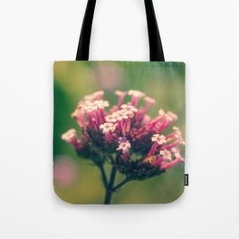 Spring Blooming Pink Flowers with Green Bokeh Background Tote Bag