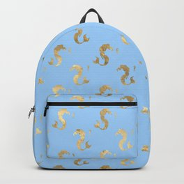 Elegant Gold Seahorses Teal Background Backpack