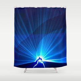 Blue laser Shower Curtain